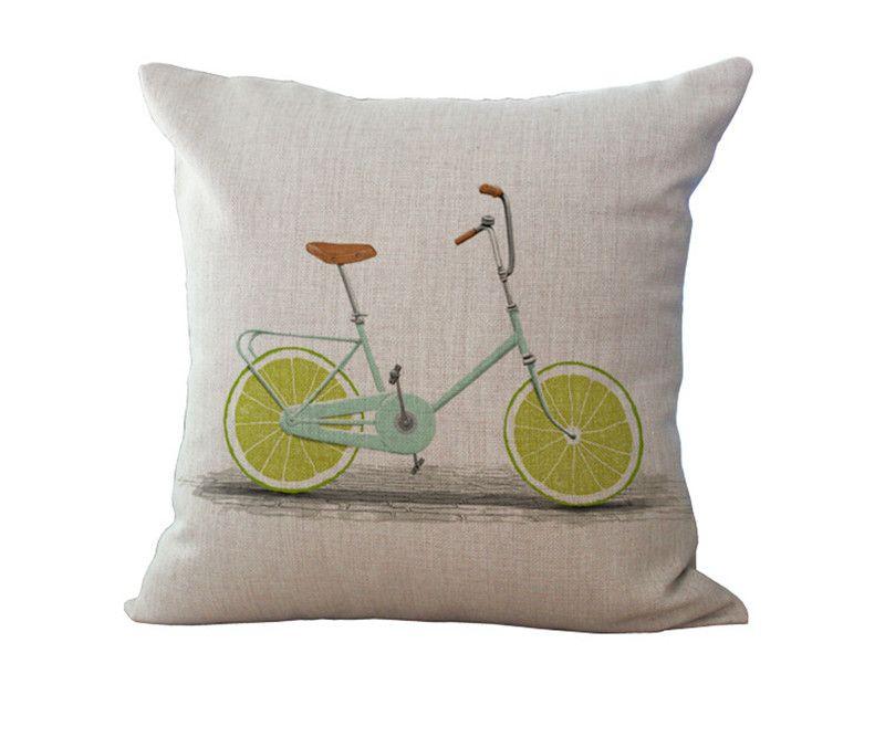 Einfache Baumwolle Leinen Fruit Bike Muster 18X18 Zoll Kissenbezug Stuhl Taille Throw Kissenbezug Home Dekoration 240451