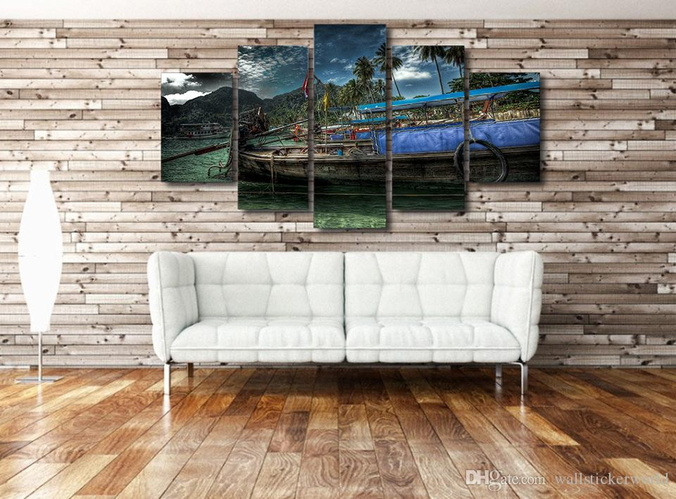 Framed Printed Beach Fishing Boat Painting Canvas Print room decor print poster picture canvas /ny-4516