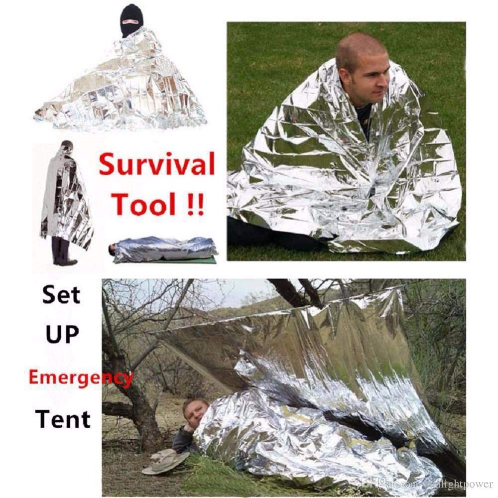 Camping Portable Emergency Blanket First Aid Survival Rescue Curtain Tent Tools Outdoor Hiking 50g Kits Silver Golden