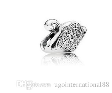 97267baefe5e Se adapta a las pulseras de Pandora Majestic Swan Pave AAA CZ cristal de  plata del grano del encanto perlas sueltas para venta al por mayor Diy  collar ...