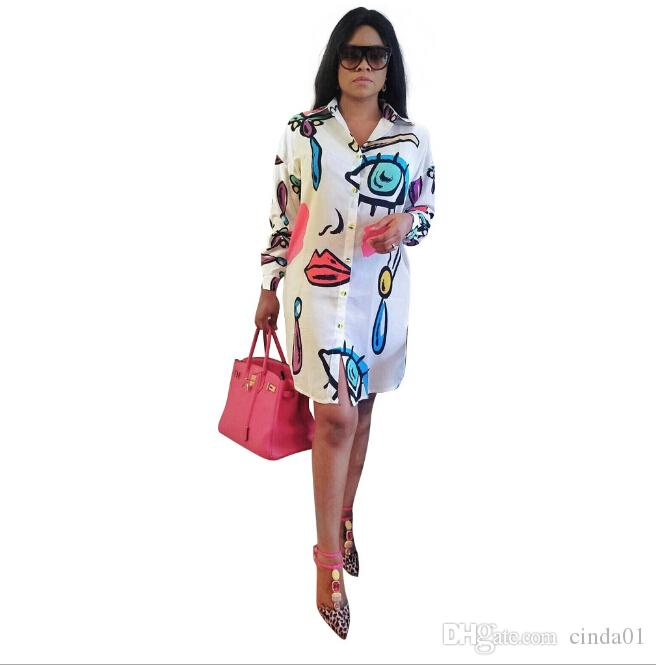 Mode-beiläufige Kleider-Frauen-stilvolle gedruckte Hemd-Kleider lose Minikleider plus Größenkleidung