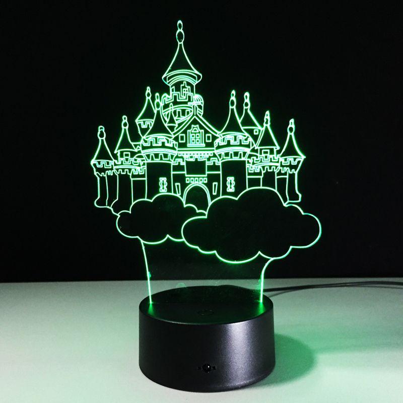 Castle 3D Optical Illusion Lamp Night Light DC 5V USB AA Battery Wholesale Dropshipping Retail Box