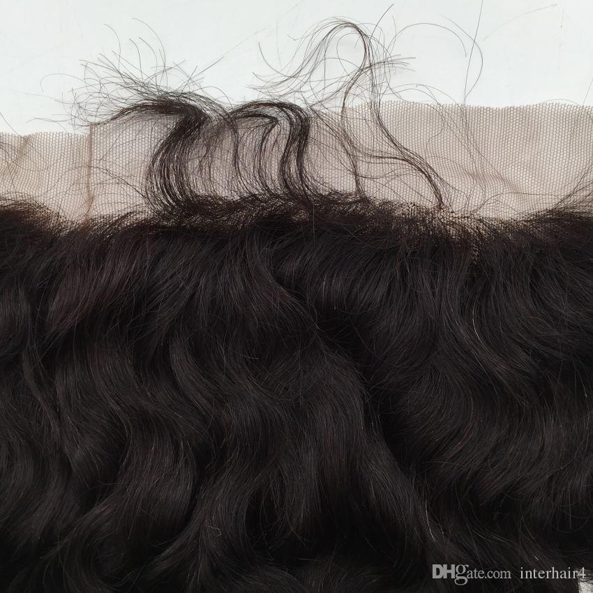 Cierre frontal 13x4 Nudos blanqueados Agua Onda Mongol Oreja A Oreja Frontales de encaje Piezas de cabello Cierres de cabello humano Frontales de encaje