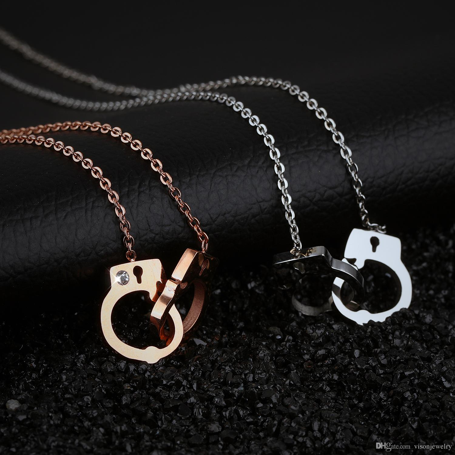 Crystal Lariat Handcuffs Choker Necklace in Stainless Steel - Silver, Rose Gold