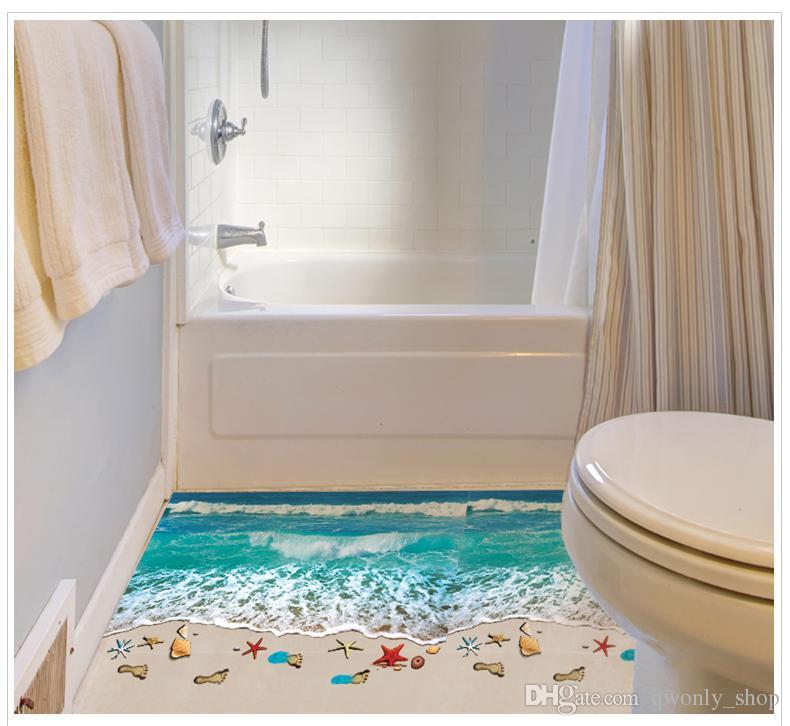 Romantische Meer Strand Boden Aufkleber 3D Simulation Strand Wohnkultur Aufkleber für Dekoration Badezimmer Schlafzimmer Wohnzimmer Hintergrund Wandaufkleber