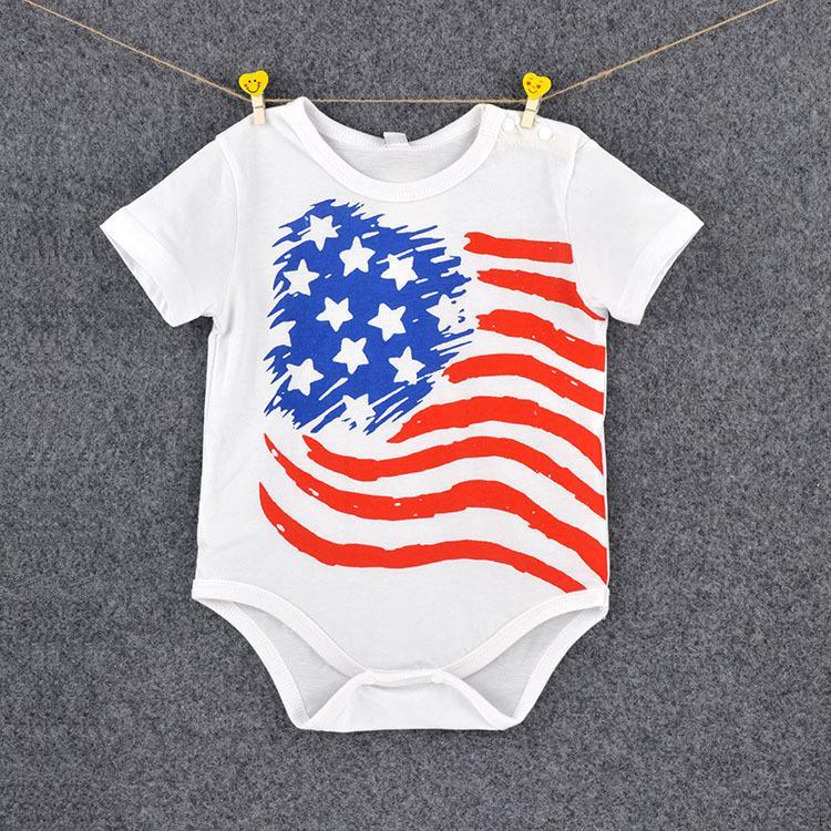 Amerikan bayrağı yenidoğan bebekler tulum 4 stilleri ABD bayrağı yıldız bebek bebek tulumlar çocuk yürüyor tek parça giysi yaz ço ...