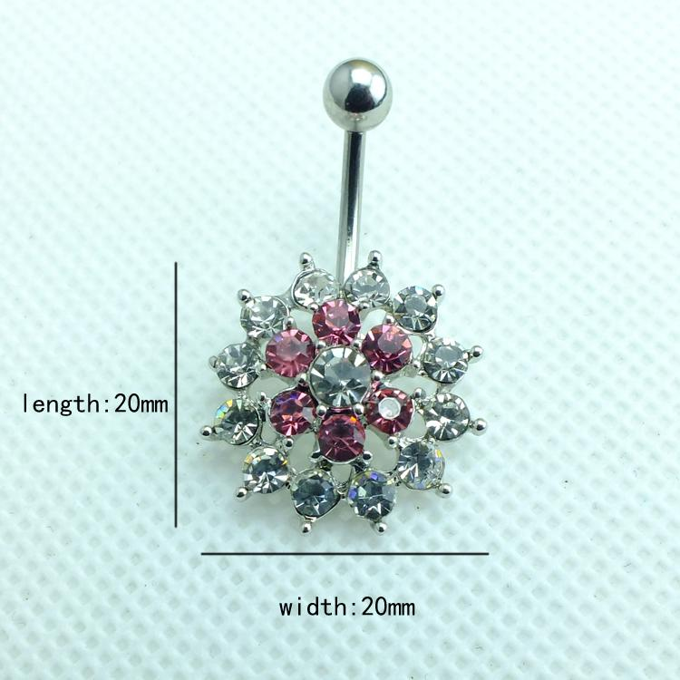 Bijoux de corps Mode Belly Anneaux En Acier Inoxydable 316L Barbell Strass Percé Fleur Navel Piercing Bijoux