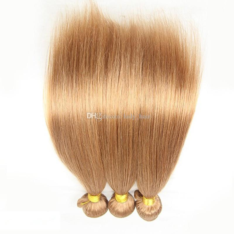 Top 10A Honey Blonde Brazilian Straight Hair Bundles Pure Color #27 Blonde Silky Straight 10''-30'' Human Hair Weaves Extensions