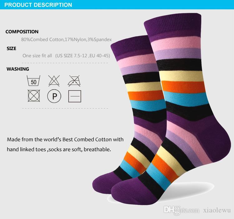 2016 nouveaux hommes colorés chaussettes en coton peigné, chaussettes à rayures, gratuit pour l'expédition, taille des États-Unis 7.5-12 352