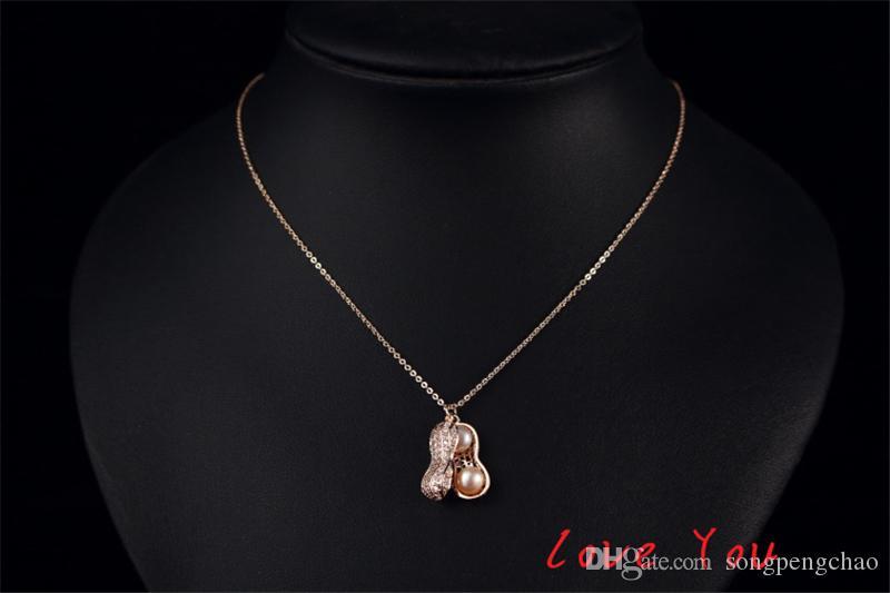 Collana di perle coreano arachidi Collana epoca in oro rosa placcato partito delle donne di modo della collana del collare del Choker monili di costume di accesso