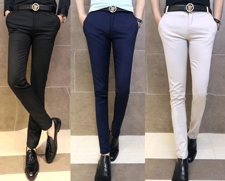 bd89b6ea78605 Compre Al Por Mayor Nueva Moda De Los Hombres Sólido Skinny Fit Cónico  Frente Plano Sexy Pantalones Casuales Pantalones De Vestir Tamaño 29 33 A   34.46 Del ...