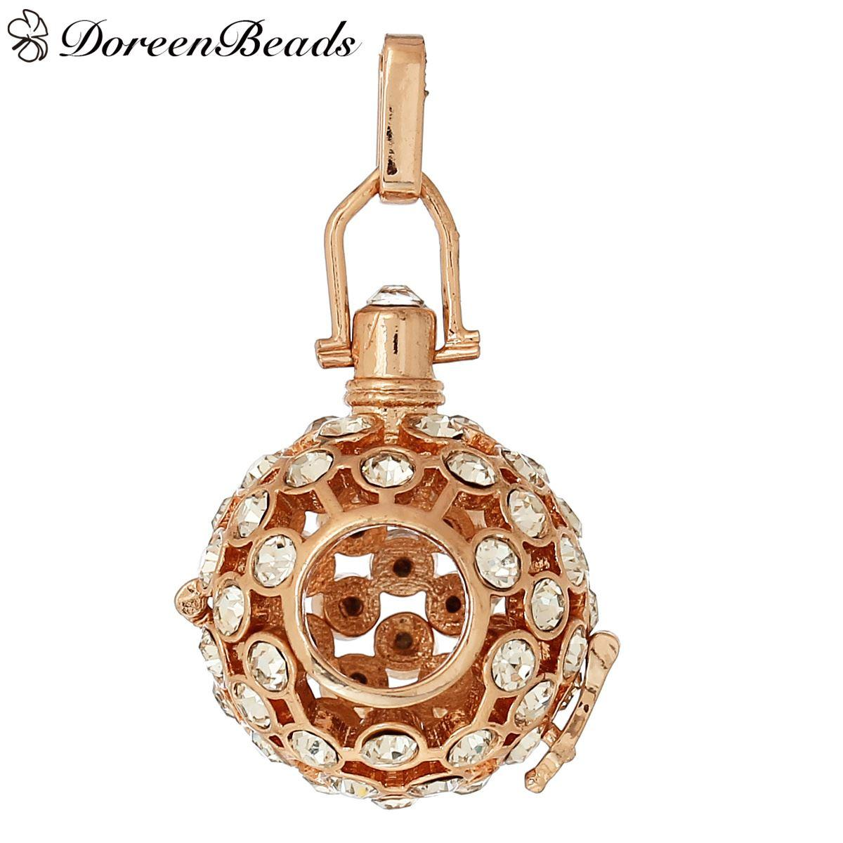 2017 Copper Wish Box Pendants Rose Gold Round Hollow Can OpenFit