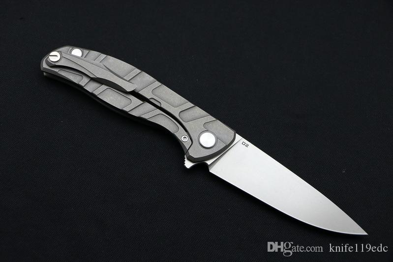 Зеленый шип F95 Флиппер складной нож подшипник D2 лезвие TC4 Титана ручка открытый кемпинг охота карманный фруктовый нож EDC инструменты