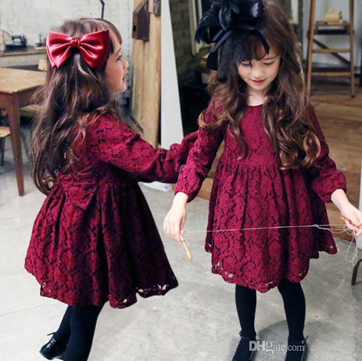 Ребенок Дети Рождество Бальные платья весна и осень корейской девушки платье детей хлопка марлевые платья девушки юбки с длинным рукавом платье принцессы