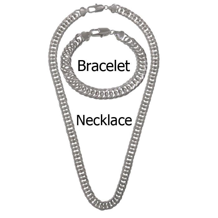 925 silver christmas gift 925 silver set men Bracelets 925 silver chain necklace 10 MM Men Necklace bracelet SET,Jewelry set mens jewelry