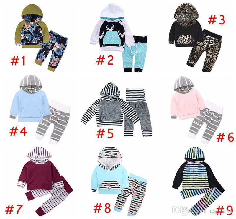 b49b6157 Baby ins Clothing Sets Boys Girls deer leopard print Hoodies + striped Pants  Toddler Spring Autumn Outfits