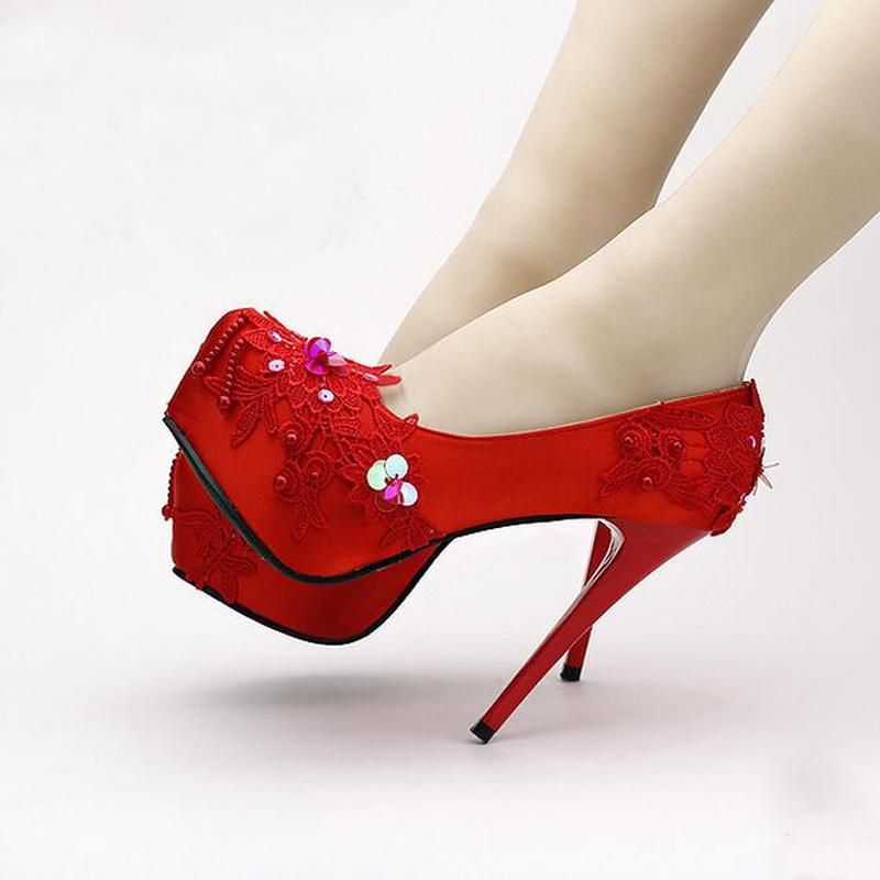 41e1a9e6c0ef6b New Super High Heel Platform Red Satin Elegant Bridal Shoes Stiletto ...