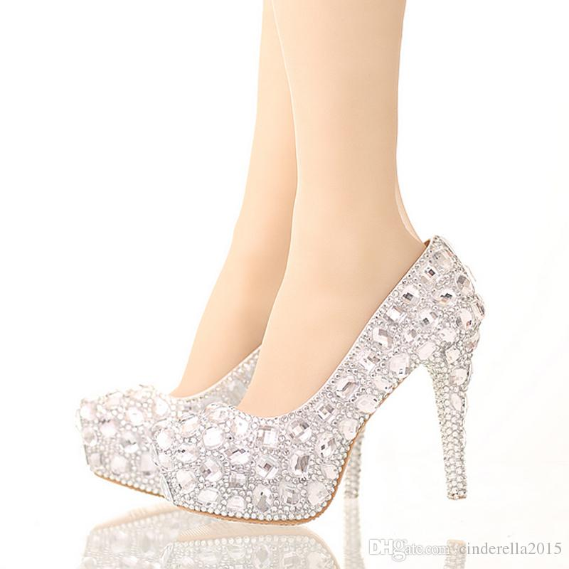 0f1b8deb9 Bride Crystal Shoes Rhinestone Wedding Shoes Silver High Heel Platform  Event Shoes Women Handmade Fashion Party Dress Shoes Silver Rhinestone  Party Prom ...
