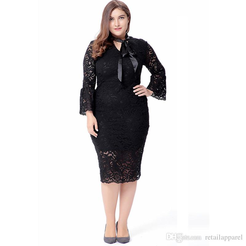 Elegant Black Lace Dresses For Women Casual Fashion Plus Size Flare