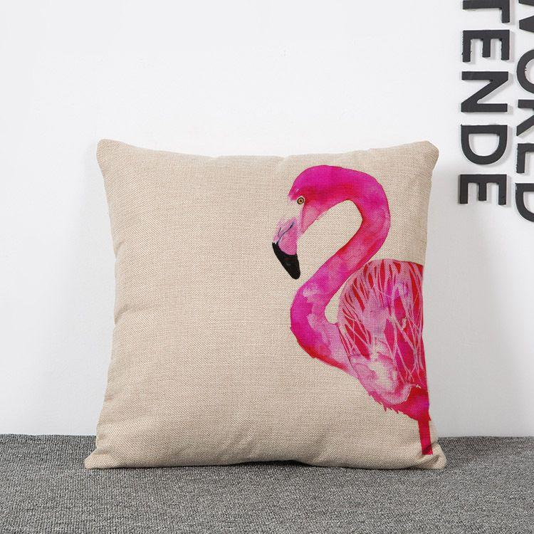 Nordic kreative Leinensofakissenbezug rosa Flamingo Aquarell literarische Auto Taille Kissenbezüge