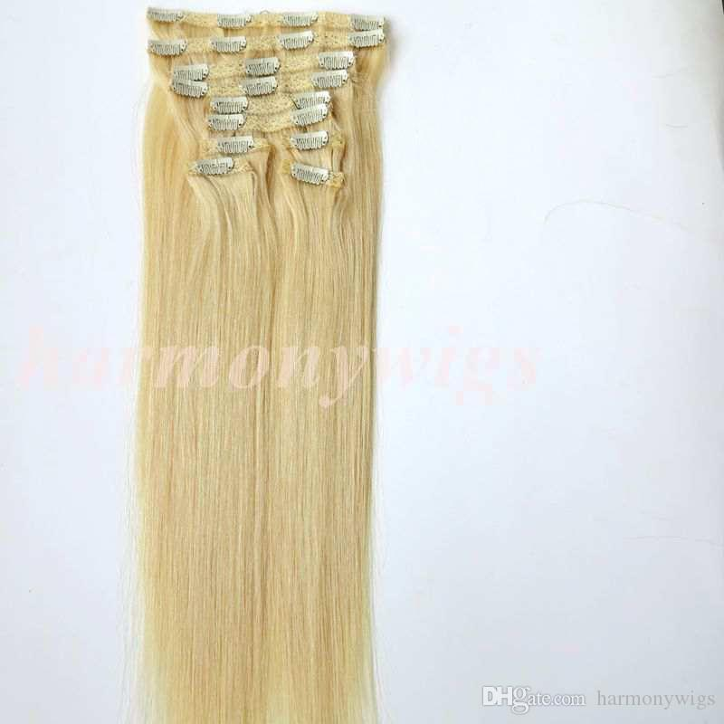 120g /clip in on hair extensions Double Drown #613/Bleach Blonde 20 22inch Straight Brazilian human hair extensions