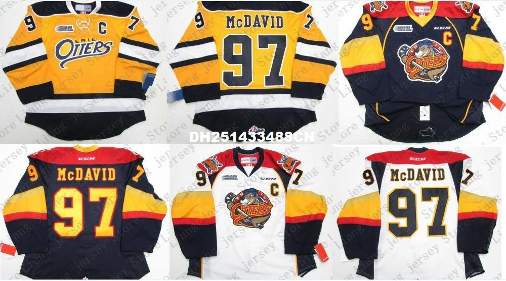 best sneakers 30c53 499ee Deluxe Edition #97 CONNOR McDAVID ERIE OTTERS AUTHENTIC HOCKEY JERSEY  Yellow Navy White Mens Stitched jerseys