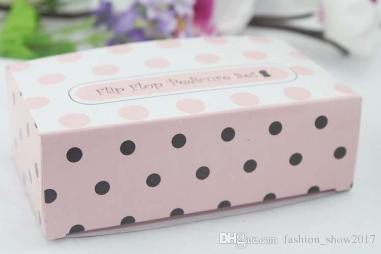 شحن مجاني الزفاف تفضل الوردي البولكا نقطة محفظة مانيكير مجموعة الزفاف دش هدية باديكير كيت للضيف