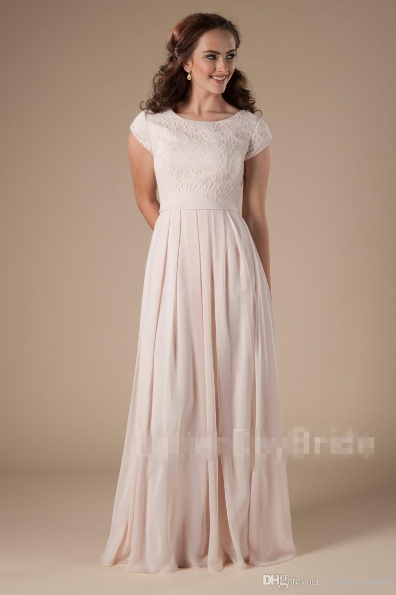 New Designer Blushing Pink Long Modest Bridesmaid Dresses With Sleeves Lace Chiffon A-line Floor Length Wedding Party Dresses