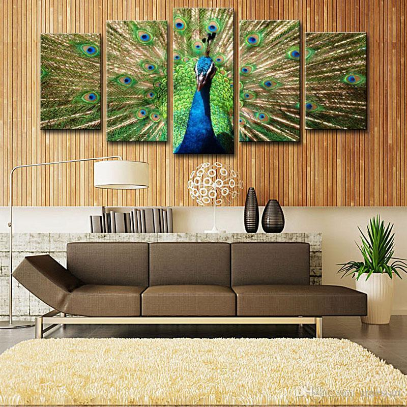 Amesi Beautiful Canvas Oil Painting 5 Picture Shows Peacock Spread His Tail  Realist Screen For Decoration Peacock Painting Canvas Paintings Paintings  Canvas ...