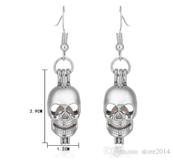 Love Wish Pearl Skull Cages Locket Earrings & Necklace Freshwater Pearls Oyster PendantExcluding Pearl CannedHalloween Christmas Jewelry