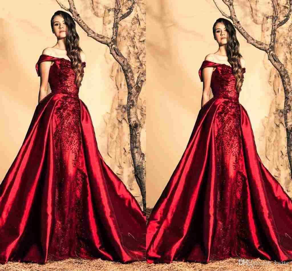 Wedding Gowns For Dark Skin: Ziad Nakad Dark Wine Red Ball Gown Prom Dresses 2018