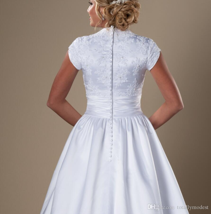 Simple Long Modest Short Sleeves Wedding Dresses With Cap Sleeves Queen Anne Neck Buttons Bridal Gowns A-line Wedding Gowns Cheap