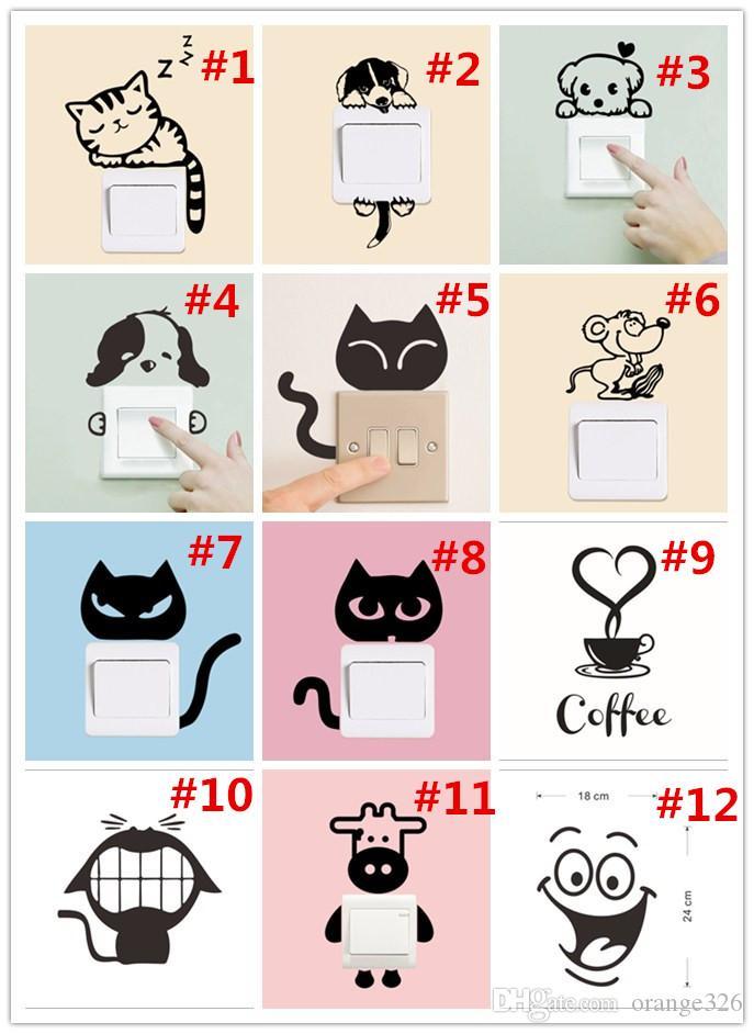 DIY Kreative Wandaufkleber Lustige Nette Katze Hundeschalter Aufkleber PVC Vinyl Aufkleber Dekoration Schlafzimmer Parlor Dekoration 12 arten