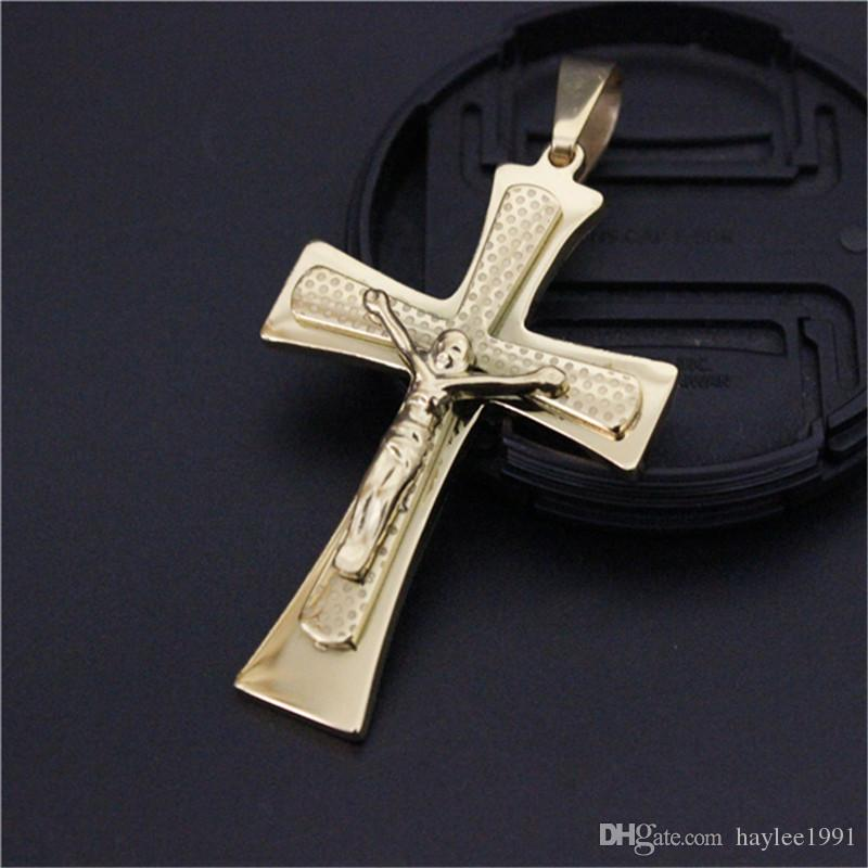 3pcs/lot Non-fade Polishing Golden Plated Cross Pendant Stainless Steel Fashion Jewelry Biker Style Unisex Jesus Cross Pendant