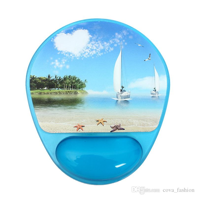 Novelty Photo Gel Mouse Pad and Wrist Rest with Microban Protection Cool Electronic Accessories Office Tools Blue Sailboat And Purple Tower