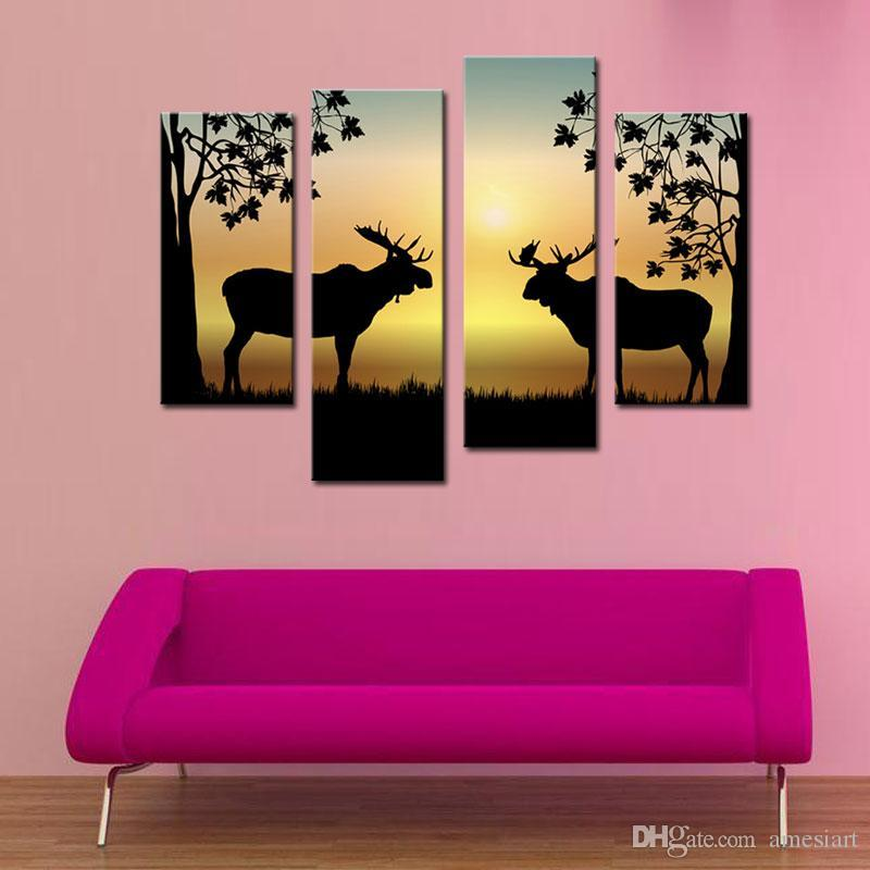 Wall Art Painting Deer Picture Canvas Print Animal Canvas Painting ...