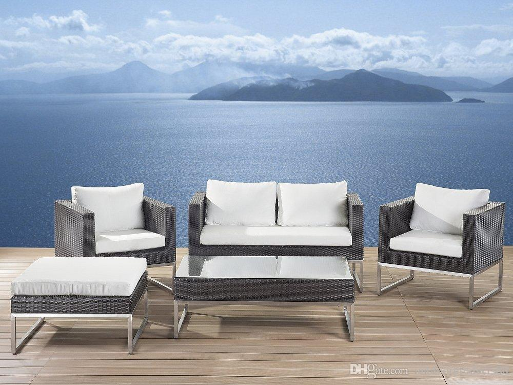 2018 outdoor furniture sofa set stainless steel rattan sofa set garden furniture sofa setmodern outdoor conversation set wicker patio furniture from - Garden Furniture Steel
