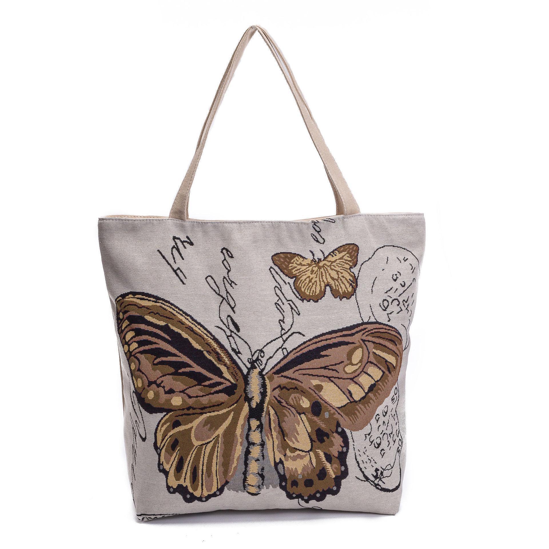 ad717ff8b9b4 Women Fashion Bags Retro Casual Canvas Butterfly Printed Shopping Bags  Female Single Shoulder Handbags Pouch Ladies Tote Ladies Shoulder Handbags  Women ...