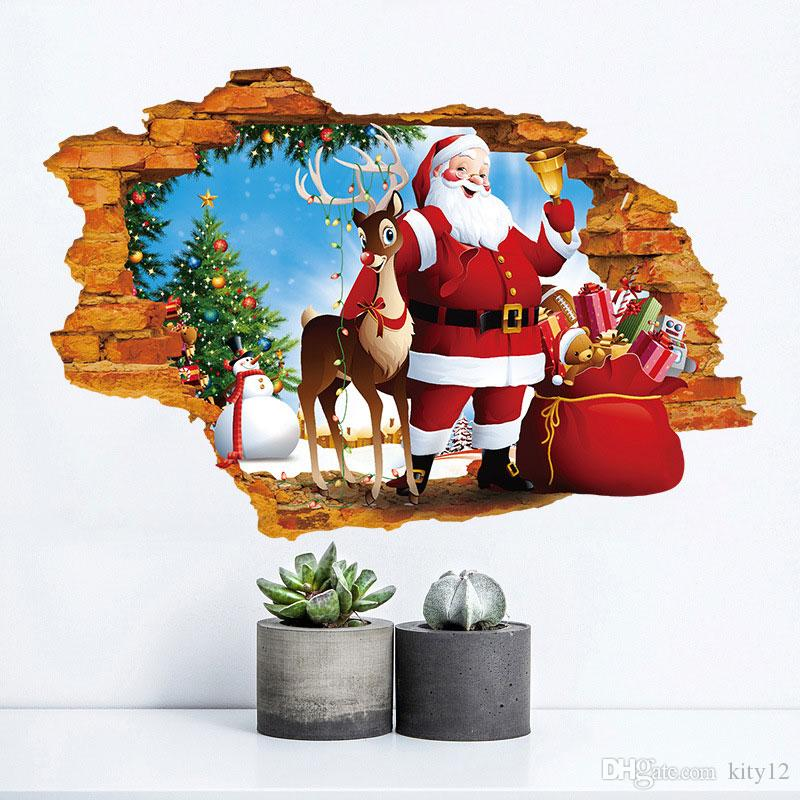 Hot New Lovely Merry Christmas Santa Claus Elk Deer Snowman Gift Wall Stickers Wall Decals for Kids Room Home Decorations