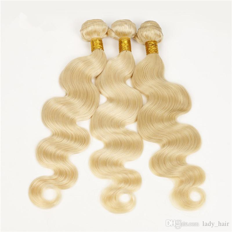9A 버진 말레이시아 블론드 인간의 머리카락 3Bundles # 613 블리치 금발 버진 인간의 머리카락 직물 바디 웨이브 말레이시아 헤어 익스텐션 DHL 무료