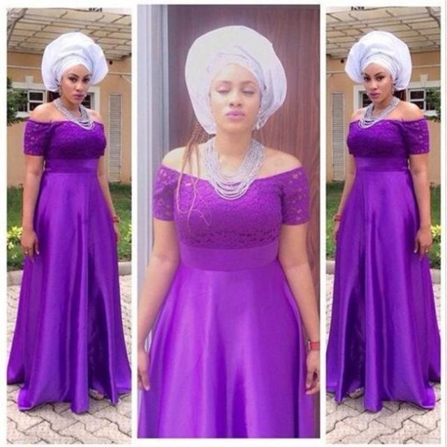 African 2016 Black Girl Prom Dresses Long Off Shoulder Short Sleeves Lace Top Plus Size Purple Women Formal Dresses Evening Wear Cheap