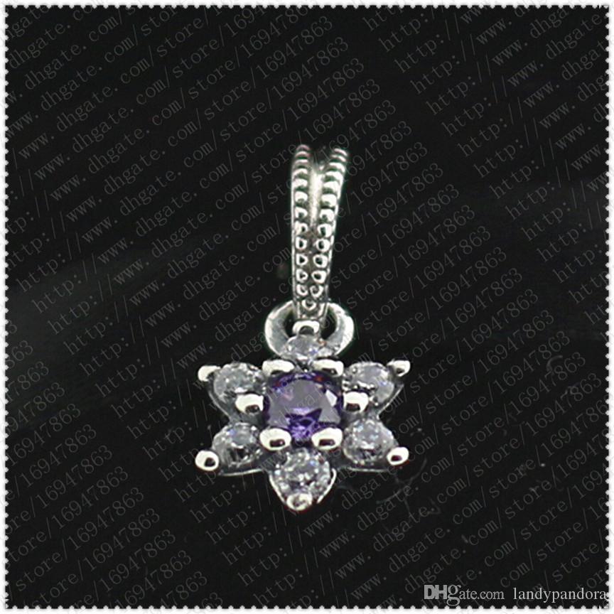 2016 Nieuwe lente S925 Sterling Zilver Vergeet me niet Dangle Charm Bead met paars en duidelijke kubieke zirkonia past Europese sieraden armbanden