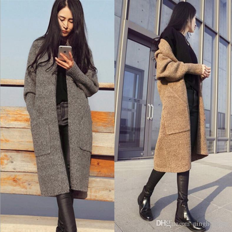 5208f24912f 2019 2017 New Autumn Winter Long Cardigan Women Sweater Women Solid Ladies  Long Sleeve Knitted Cardigans Sweater Jacket Sexy Coat From Ninghongmy