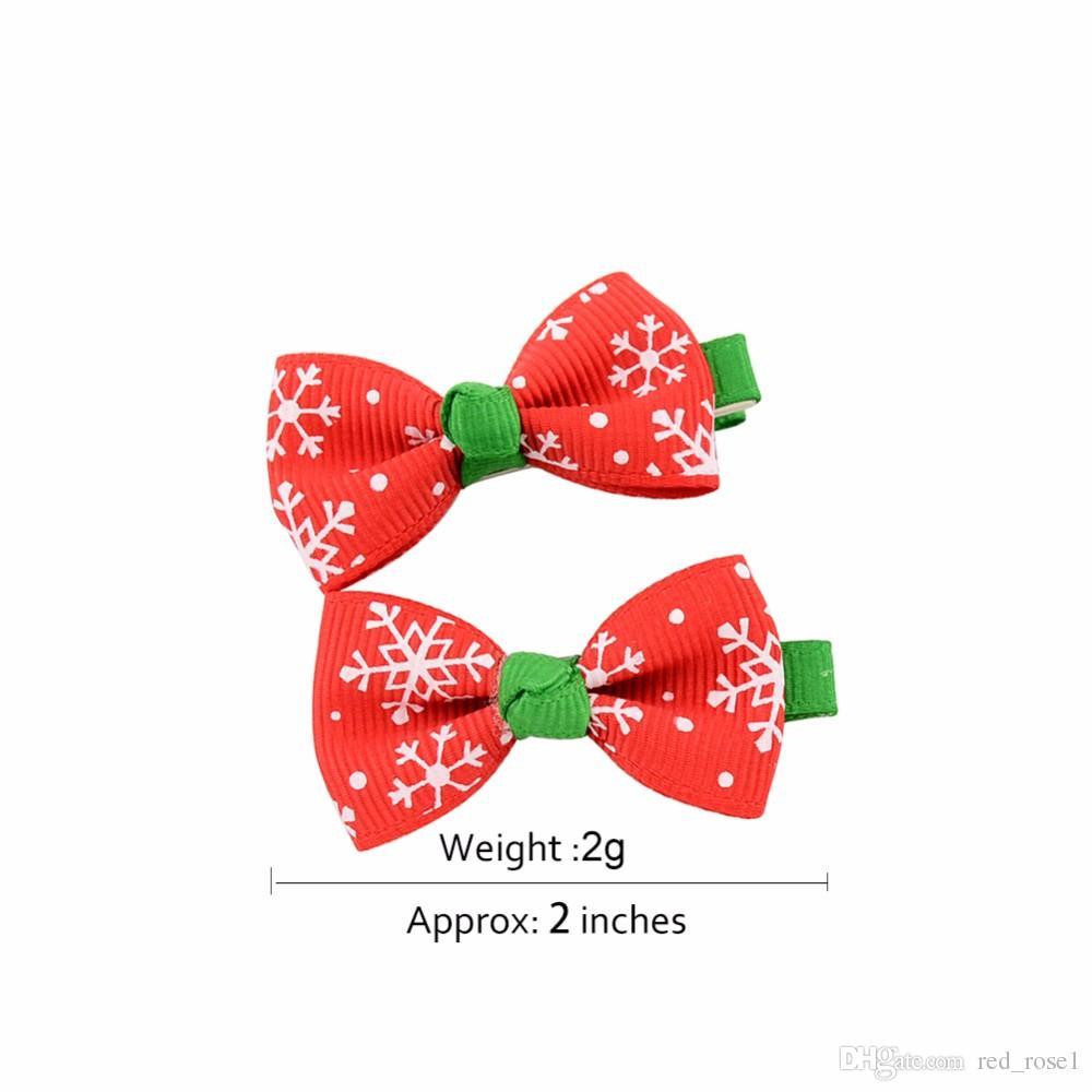 Cute Hair Clip Girls Baby Ribbon Bow Hair Clip Kids Bowknot Hairpin Children Hair Accessories Boutique Christmas Ornaments