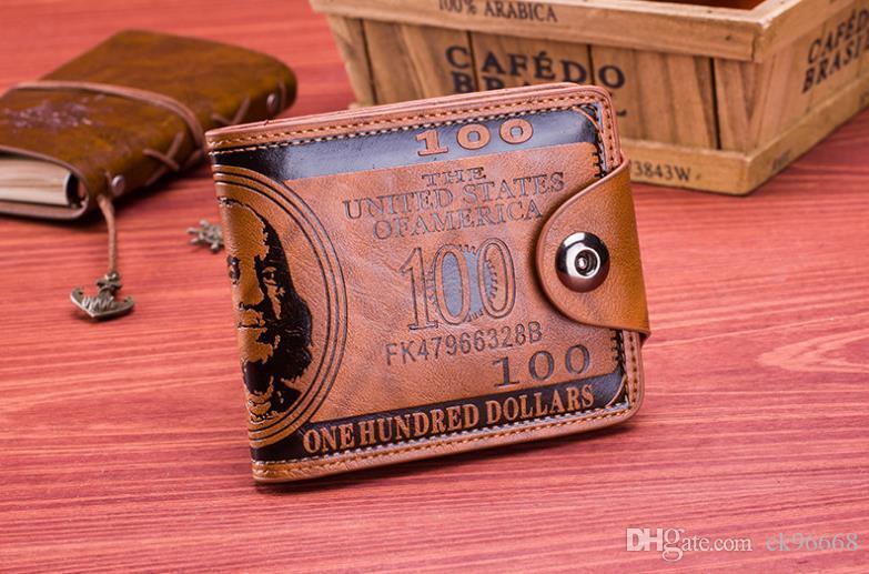 Mens designer card holder case wallet leather retro cowboy men bifold purse wallets for men