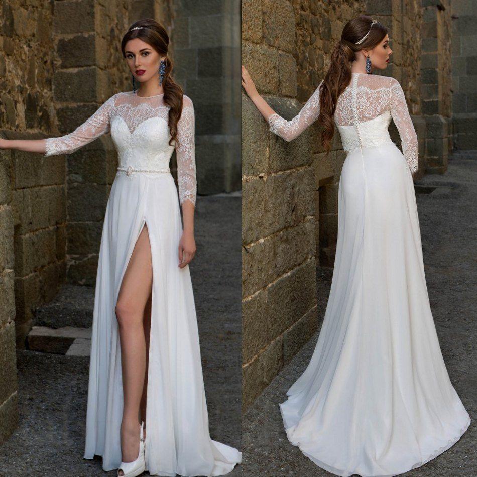Discount 2016 Vintage Catalog Wedding Dresses Thigh High Slits 3 4