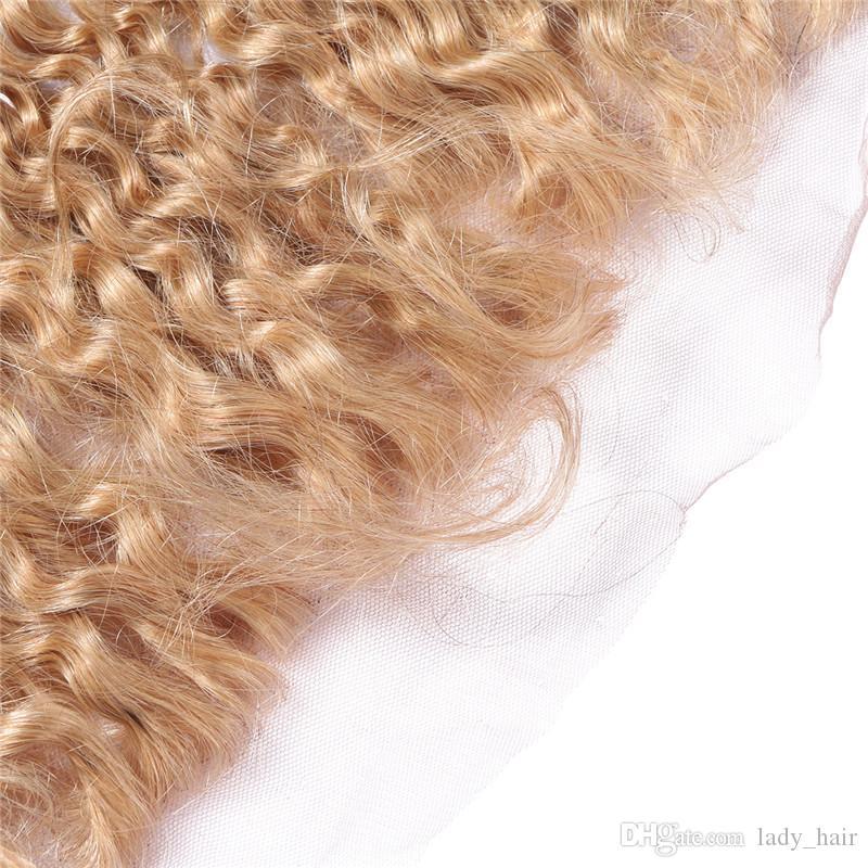 9A 말레이지아 변태 곱슬 허니 금발 13x4 레이스 프론트 # 27 딸기 금발 곱슬 귀에서 레이스 앞쪽 클로저 표백 매듭