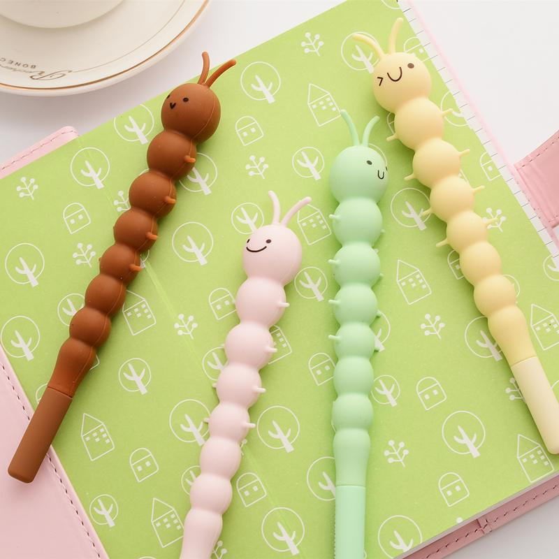 24Pcs Silicone Caterpillar Gel Pens Cute Pen for Writing Kids Gift 0.5mm Black Color School Supplies Ink Stationery
