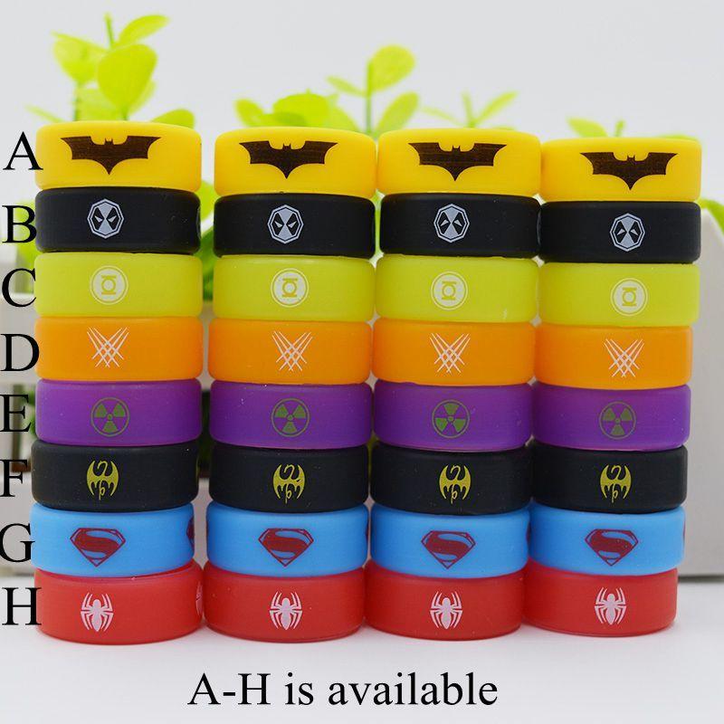 Geniş çaplı vape band silikon halka 26mm batman spiderman superman 26 * 10 * 1.5mm için ecig tankı tfv12 tfv8 büyük bebek cleito 120 DHL