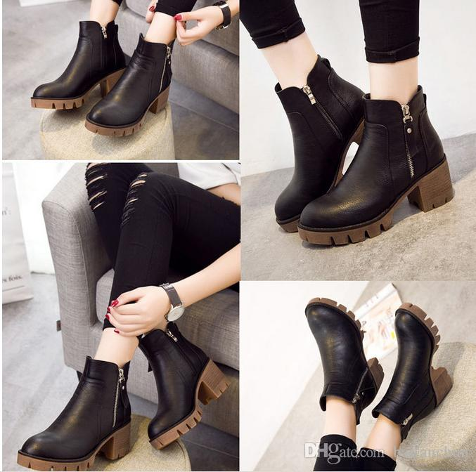 Women Martin Boots High-heeled Thick Heel Combat Punk Ankle Boots Platform Oxfords Shoes with Zipper Size 35-40
